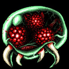 pixel art metroid alien video game green monster metroid by Sanford12 piq