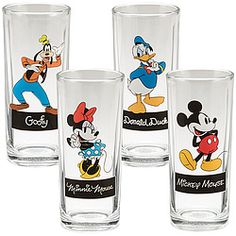 Set of 4 drinking glasses feature the classic characters you love from Disney Studios.