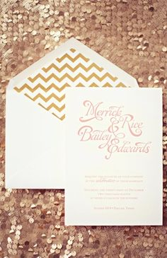 More modern blush and gold invites