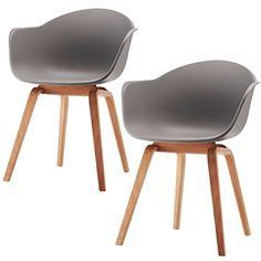 Romeo Wohnzimmerstuhl Esszimmerstuhl 2er Set Grau Polypropylen Und  Buchenholz Retro Design Stuhl Für Büro Lounge