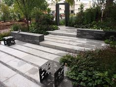 Subtle level changes and shadow banding in the bluestone paving. Ian Barker Gardens Cross Roads MIFGS 2015