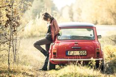 A girl standing near her MINI. It was warm and sunny autumn day in Riga, Latvia, so we decided to take the beautiful little friend out for the ride for the last time in the season. Mini Cooper Classic, Mini Cooper S, Classic Mini, Fotografie Portraits, Up Auto, Mini Morris, Classic Cars British, Automobile, Cabriolet