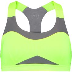 Athletic Propulsion Labs Neon mesh-paneled stretch-knit sports bra (£27) ❤ liked on Polyvore featuring activewear, sports bras, bright yellow, logo sportswear, neon yellow sports bra, racerback sports bra, racer back sports bra and neon sports bra