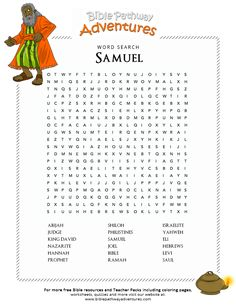 Enjoy our free Bible Word Search: Samuel. Fun for kids to print and learn more about the Bible. Feel free to share with others, too! Sunday School Activities, Bible Activities, Sunday School Lessons, Sunday School Crafts, Bible Crafts For Kids, Bible Lessons For Kids, Kids Bible, Youth Lessons, Hannah Bible