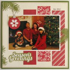 Snippets By Mendi: A Lori Whitlock This & That Christmas Layout - so simple but look how cute it is!