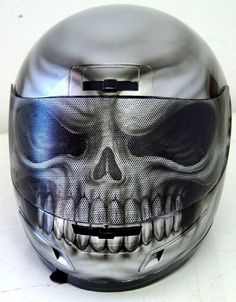 Custom Painted Silver Skull Helmet