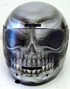 Custom Painted Silver Skull Helmet