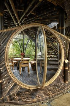 Inside a Breathtaking Bamboo Villa in the Heart of the Indonesian Jungle - A moon-shaped entrance into a bamboo bali villa You are in the right place about kitchen islands wit - Bamboo House Bali, Bamboo House Design, Bamboo Building, Building A House, Natural Building, Green Building, Bamboo Architecture, Architecture Design, Sustainable Architecture