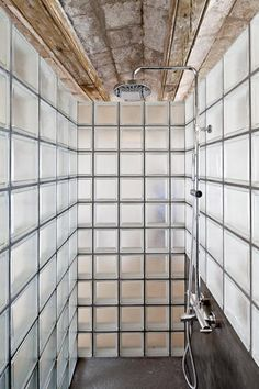 Glass block shower enclosure. bathroom | at 50 m2 flat | barcelona, spain | by hélène silvy-leligois architect.