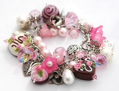 Chocolate Charm Bracelet Hearts Roses Candies by shalayneoriginals, $165.00