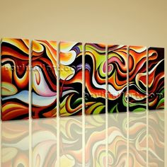 "Huge Canvas Print Wall Art Rainbow Colorful Abstract Painting Contemporary Image Extra Large Wall Art, Gallery Wrapped, by Bo Yi Gallery 76""x36"". Huge Canvas Print Wall Art Rainbow Colorful Abstract Painting Contemporary Image Subject : Abstract Style : Contemporary Panels : 7 Detail Size : 10""x36""x7 Overall Size : 76""x36"" = 193cm x 91cm Medium : Giclee Print On Canvas Condition : Brand New Frames : Gallery wrapped [FEATURES] Lightweight and easy to hang. High revolution giclee..."