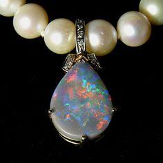 5.5ct Black Opal & Diamond Enhancer Pendant, 14k Gold | Collectors Weekly