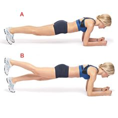 Get on the floor and prop yourself up with your toes flexed underneath you and your elbows under your shoulders, shoulder blades back and down (a). Your body should form a straight line. Brace your abs and lift your right leg up about 10 inches (b). Balance your body weight on your forearms and the stabilizing leg. Hold for up to 60 seconds. Switch legs and repeat on the other side.