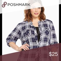 "🆕 ToRRiD Navy/White Plaid Challis Camp Shirt~2/2X 🆕🆕🆕🆕🆕🆕🆕🆕🆕🆕🆕🆕🆕🆕🆕 with Tags ~~~~ Size 2/2X/(18/20) ~~~ Plaid Challis Camp Shirt  DETAILS A camp shirt borrowed-from-the-boys (but wayyy better). Navy and white plaid keeps it casual, but the silky challis lends sophistication. Button tab sleeves, button down front, button tab breast pockets; try to get us to button up about this one.  Model is 5'9.5"", size 1   Size 1 measures 30 3/4"" from shoulder~~ Rayon~~ Wash cold, dry…"