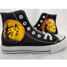 Halloween Hand Painted Shoes Custom High Tops Painted Canvas Shoes, Hand Painted Shoes, Painting Shoes, Unique Christmas Gifts, On Shoes, Converse Chuck Taylor, High Tops, High Top Sneakers, Pairs