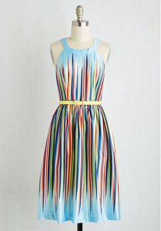 What's the Zeal? Dress by ModCloth - Multi, Blue, Stripes, Print, Belted, Special Occasion, Prom, Daytime Party, Homecoming, A-line, Sleeveless, Woven, Better, Exclusives, Private Label, Long, Colorsplash, SF Fit Shop