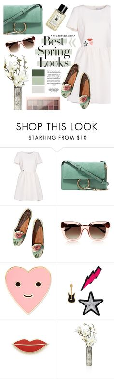 """""""Spring ESSENTIALS"""" by julijana-k ❤ liked on Polyvore featuring Christian Dior, Chloé, H&M, Scotch & Soda, Thierry Lasry, ban.do, Lydell NYC, Georgia Perry and Maybelline"""