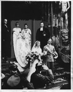 the marriage in Coburg of Princess Sybilla of Saxe-Coburg and Gotha and Hereditary Prince Gustaf Adolf of Sweden (parents of King Carl XVI Gustaf) Royal Wedding Gowns, Royal Weddings, Royal Life, Royal House, Princess Alice, Swedish Royalty, Royal Blood, Royal Brides, Victoria