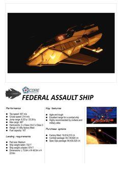 Elite: Dangerous Federal Assault Ship Core Dynamics Ships Brochure