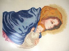 Mother And Child, Watercolor Tattoo, Cross Stitch, Painting, Madonna, Hobbies, Inspirational, Cross Stitch Pictures, Cross Stitch Embroidery