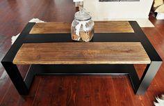 Mesa Industrial de acero negro y madera recuperada rústico