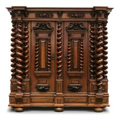 Museum-quality early Baroque hall cupboard, In the style of the Swiss cabinet maker Johann Heinrich Keller (b. 1627 in Basel - d. 1708 in Basel) last third of the 17th century.