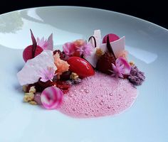 "266 mentions J'aime, 12 commentaires - Jordy (@pastryaandepoel) sur Instagram : ""Lunch dessert and try-out for dessert amuse. Made of raspberry, beetroot, rose and hazelnut…"""