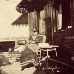 "Empress Alexandra Feodorovna of Russia knitting on the Standart. ""AL"""