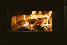 warm fireplace on a cold winter's night.