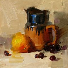 """""""Glazed Pottery"""" oil on board, 6x6 in by Qiang Huang"""