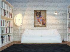 09801 Obraz na płótnie - PORTRET PSA Bulldog 50x70 (4430808270) - Allegro.pl - Więcej niż aukcje.