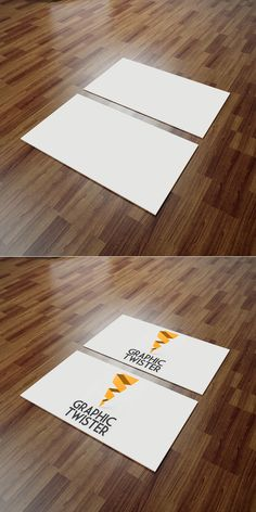 Business Cards Mockup Wooden Backrgound | Graphic Twister Photorealistic Templates