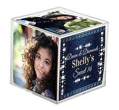 These Denim and Diamond Photo Cubes are printed with a background that looks like diamond studded blue denim. You will choose your wording and font.