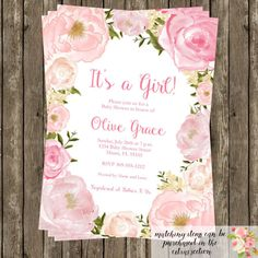 Watercolor Floral Baby Shower Invitation Modern by LoveLifeInvites