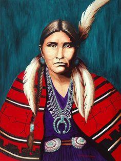 "Native Americans Indians ""Navajo Woman in Red"" ~ LL Morgan"
