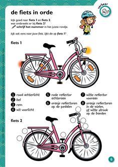 De fiets in orde - werkblad @keireeen Learn Dutch, Vlog, Kids Education, Teaching Kids, Social Studies, Transportation, Kindergarten, Homeschool, Crafts For Kids