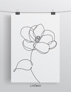 Magnolia flower minimalist print one line drawing Abstract Line Art Flowers, Flower Line Drawings, Simple Line Drawings, Easy Drawings, Flower Art, Drawing Flowers, Painting Flowers, Simple Flower Drawing, Botanical Line Drawing