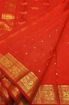Red Handloom Chanderi Katan Silk  Saree