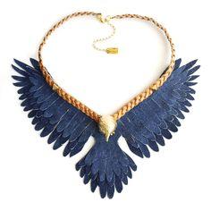 DENIM EAGLE  Eagle necklace, statement necklace, maxi collar, águila, piel, handmade, leather and gold, color