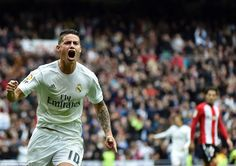 James Rodriguez wheels away in celebration after he fired Real Madrid into a 2-1 lead with a brilliant finish from the edge of the box
