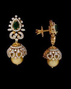 Diamond Jhumkas, Diamond Earing, Diamond Jewellery, Gold Jewelry, Gold Earrings Designs, Jewelry Boards, Kids Jewelry, Ear Rings, Designer Earrings