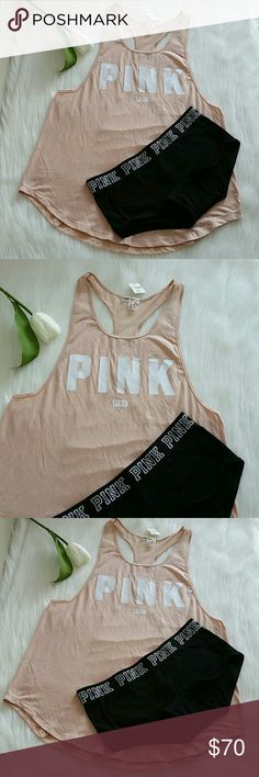 PINK VS TANK TOPS S & BOYSHORT S. nwt Beautiful Set. Brand new pink victoria's secret tank tops size S and pink boyshort panty size S.  Smoke and pet free . fast shipping + extra gift.  I don't trade love.  Available PINK Victoria's Secret Tops Tank Tops