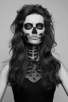 Skulls are a Halloween staple that make for a classic costume. But instead of taking the easy route and wearing a mask, learn how to create a painted-on skull face. This makeup look will GLAM your skeleton to the next … Continue reading → Maquillaje Halloween, Halloween Costumes, Halloween Face Makeup, Halloween Skull, Halloween Clothes, Holiday Costumes, Halloween Outfits, Skull Makeup, Hair Makeup