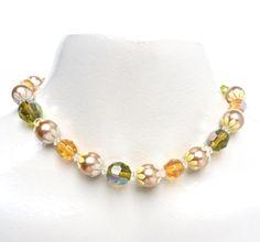 Vintage Beaded Choker Necklace - Glass Aurora Borealis by MaejeanVINTAGE, $15.00    #vintage #choker #beaded #glass