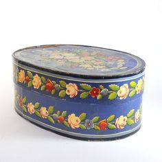 Antique Brides Box | Gorgeous antique painted & decorated large bent wood bride's box