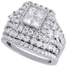 White Princess Diamond Bridal Set 3.34 Ct Princess Diamond Silver Ring Handmade Fine Craftsmanship Jewelry & Watches
