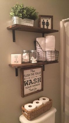 home organization ideas clutter * home organization ; home organization ideas ; home organization declutter ; home organization hacks ; home organization ideas clutter ; home organization ideas bedroom ; home organization diy ; home organization ideas diy Small Bathroom Furniture, Small Bathroom Storage, Storage Spaces, Rustic Bathroom Shelves, Farmhouse Decor Bathroom, Farm House Bathroom Decor, Floating Shelves Bathroom, Diy Wood Shelves, Shower Storage