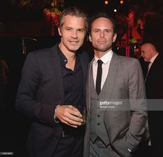 Actors Timothy Olyphant (L) and Walton Goggins attend The Paley Center for Media's 2013 benefit gala honoring FX Networks with the Paley Prize for Innovation & Excellence at Fox Studio Lot on October 16, 2013 in Los Angeles, California.
