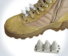 Fury's Tactical Kuba-Kickz is a lightweight plastic, spiked insert that fits between the weave of shoelaces and serves as a--how do you say?--balls-on accurate, devastatingly effective, though non-lethal self defense tool. This seems like a grand idea fo Camping Survival, Survival Gear, Survival Skills, Outdoor Survival, Survival Guide, Tactical Survival, Tactical Gear, Airsoft, Bushcraft
