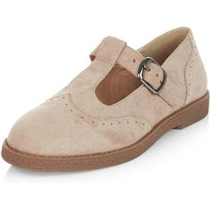 New Look Light Brown Suedette T-Bar Strap Brogues (£23) ❤ liked on Polyvore featuring shoes, oxfords, light brown, balmoral oxfords, brogue shoes, strappy shoes, new look shoes and light brown oxfords
